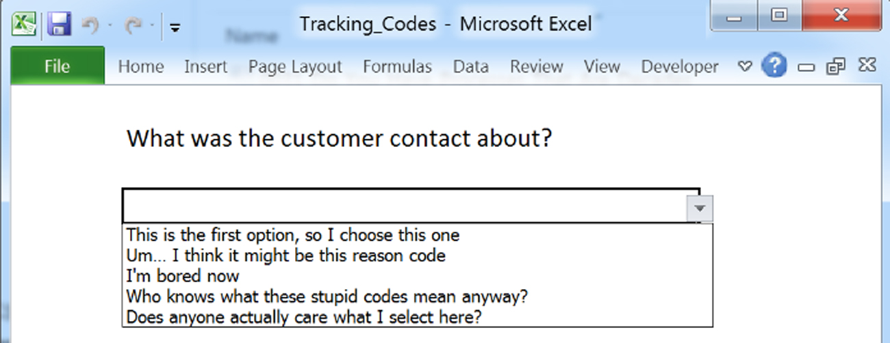 Tracking codes, Wrap Codes, Reason Codes and the like